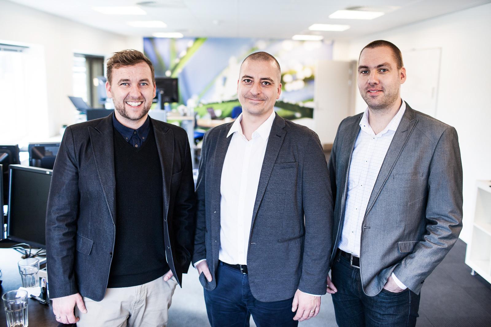 Refurbs grunnleggere; Peter Hove (markedsdirektør), Ulrik Hjul Andersen (styreleder) og Martin Bjørn Mikkelsen (innkjøpssjef)