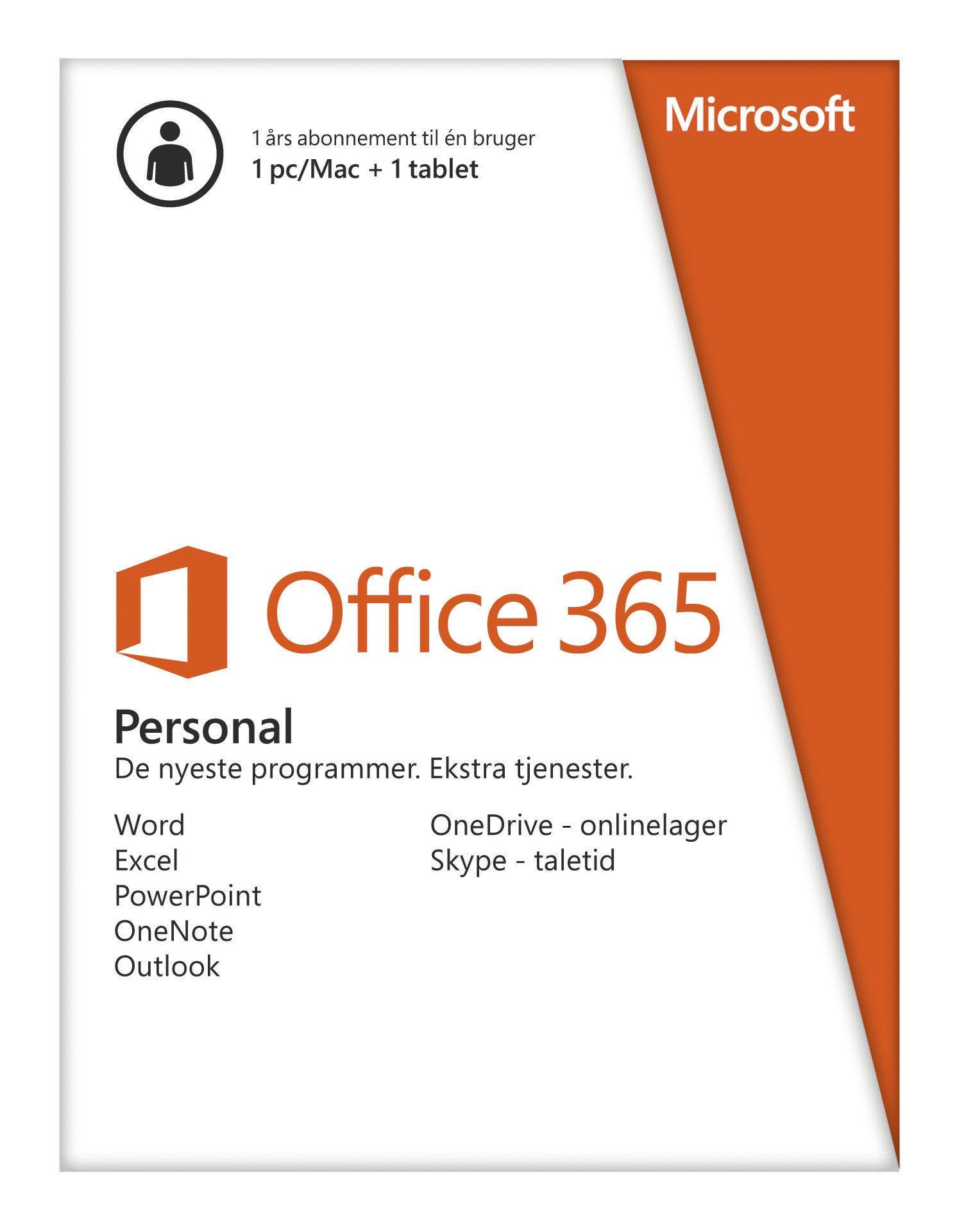 Image of   Microsoft Office 365 Personal DK PC/MAC (1 års abonnement)